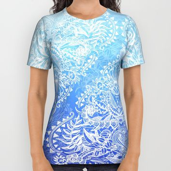 Out of the Blue - White Lace Doodle in Ombre Aqua and Cobalt All Over Print Shirt by Micklyn