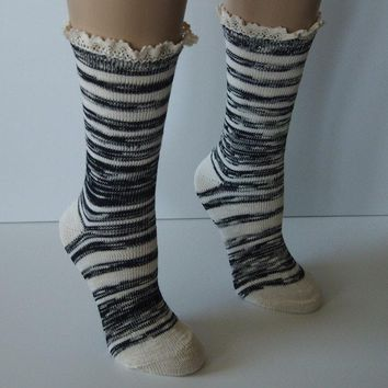 "Black Combo 9"" Marbled Slub Stripes Crew Boot Sock with Crochet Cuff"