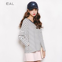 Stripes Autumn Korean Long Sleeve Ladies Pullover T-shirts [9022912711]
