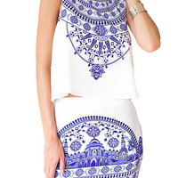 White Sleeveless Floral Crop Top With Skirt