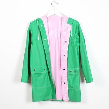 Vintage 1980s Fully Reversible Raincoat Kelly Green Pink PVC Waterproof Izod Lacoste G
