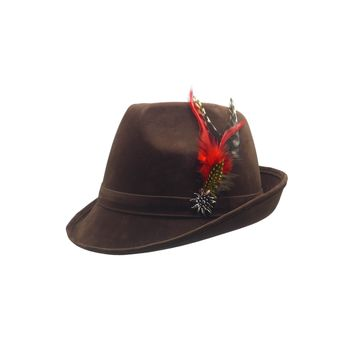 "Brown ""German Hunter"" Hat Fedora And Edelweiss & Feather"