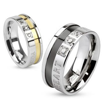 """""""You are Always in my Heart"""" Inscribed 316L Stainless steel ring with Gold & Blk. Band"""