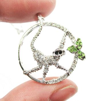 Round Monkey Shaped Animal Pendant Necklace in Silver with Rhinestones