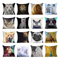 Tiger lion wolf dog pattern Cushions Feline and canine animal Pillows Polyester Square Modern Decorative Cadeira Throw Pillow