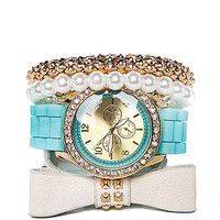 Papaya Clothing Online :: RIBBON BRACELET W/ SILICONE WATCH SET