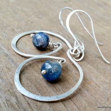 Kyanite Sterling Silver Spiral Wire Earrings, Hammered Silver Swirl Hoop Earring, Blue Gemstone Silver Dangle Earrings, Blue Silver Earrings