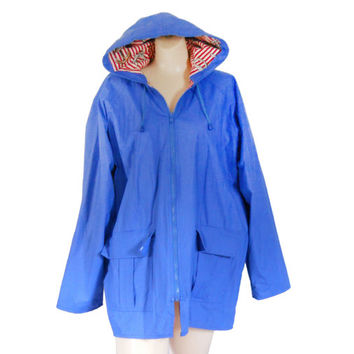Hooded Rain Jacket 2X Woman Plus Size Jacket with Hood Hooded Rain Coat Blue Raincoat Women Rain Jacket Women Raincoat Ladies Raincoat