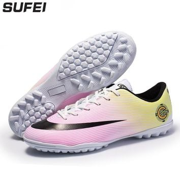 sufei Soccer Shoes Superfly Football Boots Turf Sole Athletic Outdoor Training Cleats Futsal Chuteira Futebol