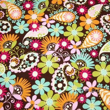 105cm Width Brown Background Paisley Flowers Cotton Fabric for Woman Dresses Clothes Sewing Patchwork DIY-AFCK288