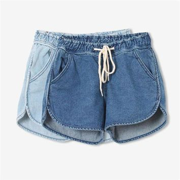 VONG2W Summer Mini Jeans New Fashion Girl Sexy Loose Side Split Drawstring High Waist Denim Beach Shorts for Women Casual Bottoms 2017