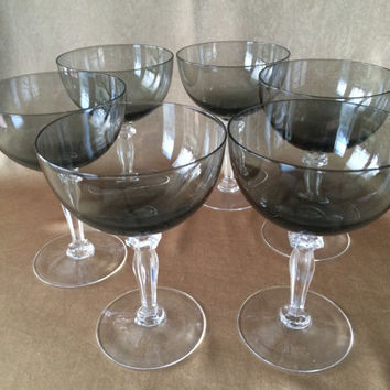 Champagne Glasses, Smoke Grey Color, Coupe Style, Beveled Clear stems, Celebrity Japan, Large Bowl Coupes, Retro Bar Ware, Mid Century Bar,