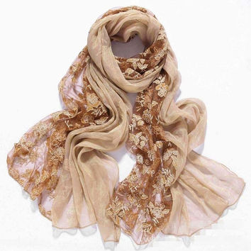 Embroider flower spring faux Silk scarf women scarves and stoles 2017 fashionable brand lace chiffon shawls,foulard femme