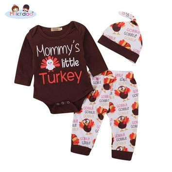 Thanksgiving Baby Boys Girls Clothes Mommy's Little Turkey 3PCS Suit Letters Print Romper Turkey Print Pant with Hat Outfit