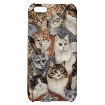 Vintage Whimsical Cat Fabric Apple iPhone 5C Cover