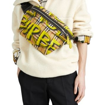 Burberry Large Sonny Graffiti Check Canvas Bum Bag | Nordstrom