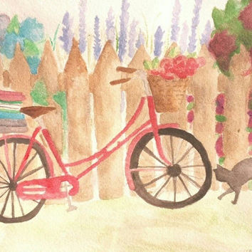 SALE Bicycle Watercolor print, PRINT, cat painting, art print, bike print, cat art watercolor, nursery art, boys and girls art, 5x7, 8x11