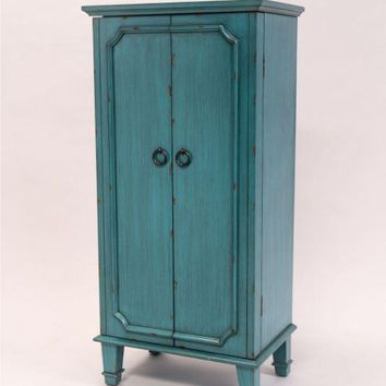 Vintage Turquoise Hand Painted Jewelry Armoire