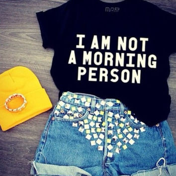 Women Men morning person Print T-Shirts Top +Free Gift -Random Necklace-122