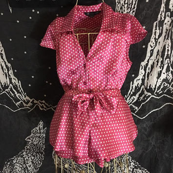 1990s VICTORIAS SECRET Pink Polkadot Pajama Set / Silky Button Down Top / Shorts with Cute Bow Tie in Front / Comfortable Ladies Sleepwear