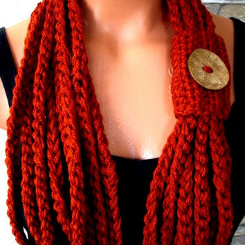 Crochet Circle  Scarf -  Womens Scarf - Pumpkin Scarf - Halloween Scarf -  Necklace Scarf  - Chain Scarf -  Winter accessories