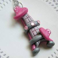 Pink Paris Necklace Eiffel Tower Fimo Jewelry Polymer Clay Jewelry for Tweens Teens and Adults