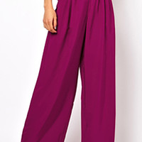 ROMWE Pocketed Pleated Rose Palazzo Pants