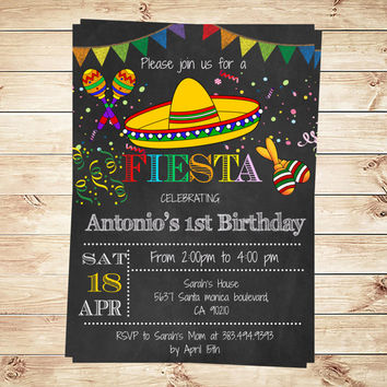 Birthday Mexican Fiesta Party Invitations,  Yourself Kid's Mexican Fiesta Invitation editbale in PDF, Fiesta Party, Art Party Invitation