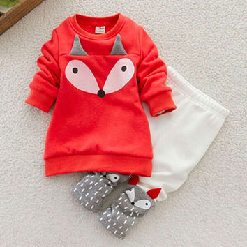 2pcs/set Comfortable Lovely Child Boys Girls Thick Little Foxes Clothes Cartoon Cotton Long Sleeve Shirt + Long Pants