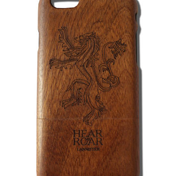 Hear me Roar House Lannister print Iphone  6/ 6s wooden engraved bamboo phone case cover Game of Thrones Fan Art