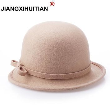 NEW Fashion Sweet Solid Color Women Beach Retro Vintage 100% Wool Felt Bowler Bow Fedora Hat Autumn Winter Bucket Caps For Woman