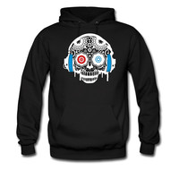 A Sugar Skull with headphones hoodie sweatshirt tshirt