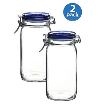 Bormioli Rocco Fido Square Jar with Blue Lid 50-3/4-Ounce 2-pack Glass Set Of 2
