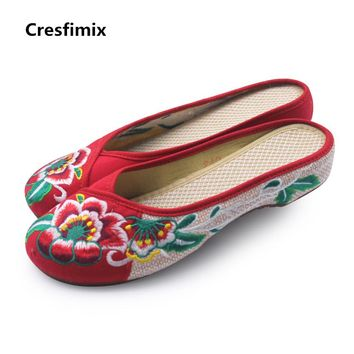 Cresfimix women cute chinese vintage style embroidered cloth shoes lady cute retro slip on sandal shoes female cool flat shoes