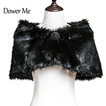 In Stock Wedding Accessory Faux Fur Black White Custom Made Bridal Coat Wedding Bolero Stoles Jacket Shrug Wraps 17004