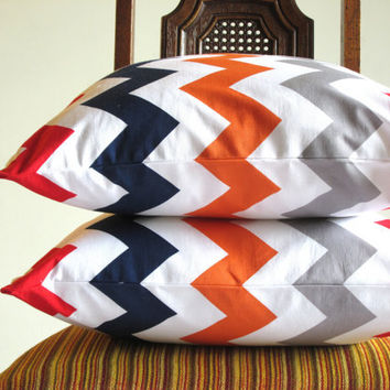 Decorative pillow throw Red Grey Orange Navy Blue18 x 18 modern bold White zig zag Riley Blake Handmade cotton Home Decorative TWO