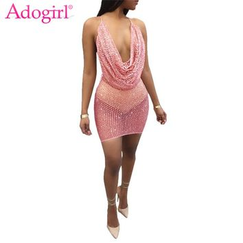 Adogirl Sequins Sheer Mesh Patchwork Women Club Dress Pile Collar V Neck Spaghetti Straps Open Back Bodycon Mini Party Dresses