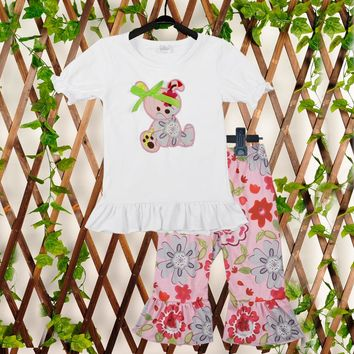 Conice Brand Cute Toddler Girl Clothes Set Embroidery White Top Ruffle Capris Kids Girl Boutique Summer Clothing 2GK712-056