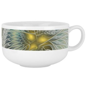 Golden Flower Fantasy, abstract Fractal Art Soup Mug