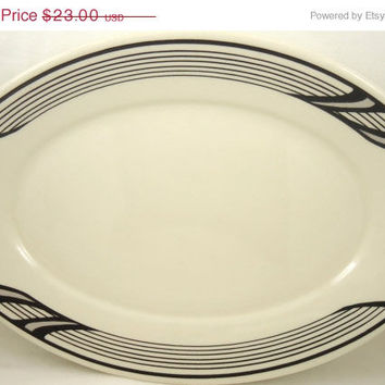 Performance Poetry:1980s Black And White Homer Laughlin Platter