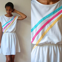 Vtg Retro Striped Blue Yellow Pink White Summer Dress