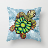 Baby Sea Turtle Throw Pillow by Alohalani