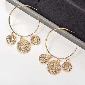 Fashion Gold Color Big Circle Hoop Earrings for Women 2019 Vintage Round Earrings Statement Jewelry Metal Accessories Bijoux
