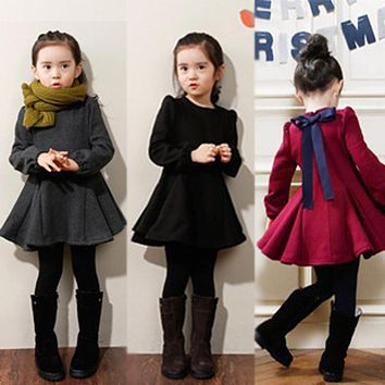 3 4 5 6 7 8 9 Years Girls Winter Dress 2017 New Thick Velvet Cotton Kids Clothes Ruffles Long-Sleeved Children Clothing