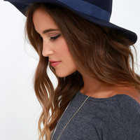 Tip Your Brim Navy Blue Fedora Hat