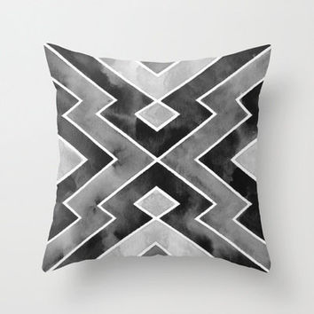 Pillow Cover . Tribal . Black Gray . Monochrome . Modern Home Decor