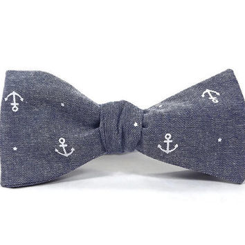 Anchor bowtie, Nautical bowtie, chambray anchors, mens bowtie, mens anchor bowtie, navy anchor, nautical mens, nautical accessory