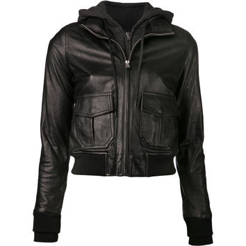 Hooded Bomber Womens Leather Jacket