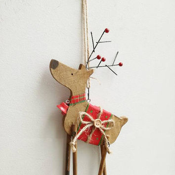 Reindeer ornament, wooden, Christmas tree ornament of reindeer in profile, reindeer with red bell and saddle, rustic, Xmas decor