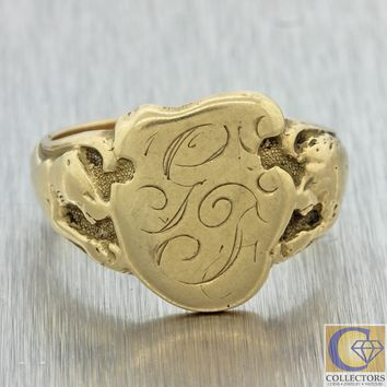 1880s Antique Victorian 14k Solid Yellow Gold Monogrammed GF Lion Signet Ring